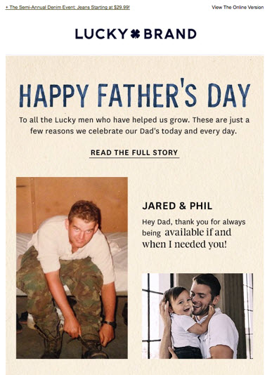 Lucky Brand Father's Day Email