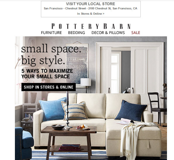 Pottery Barn Email Creative