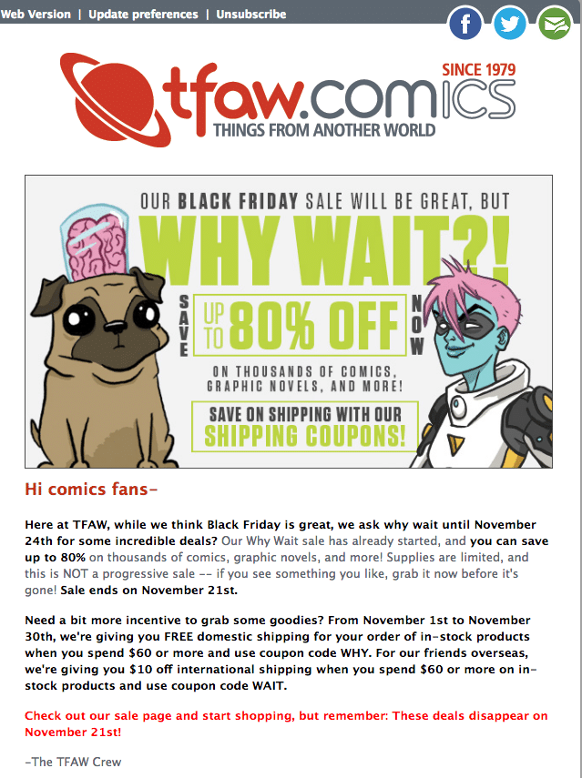 nother World Black Friday Email