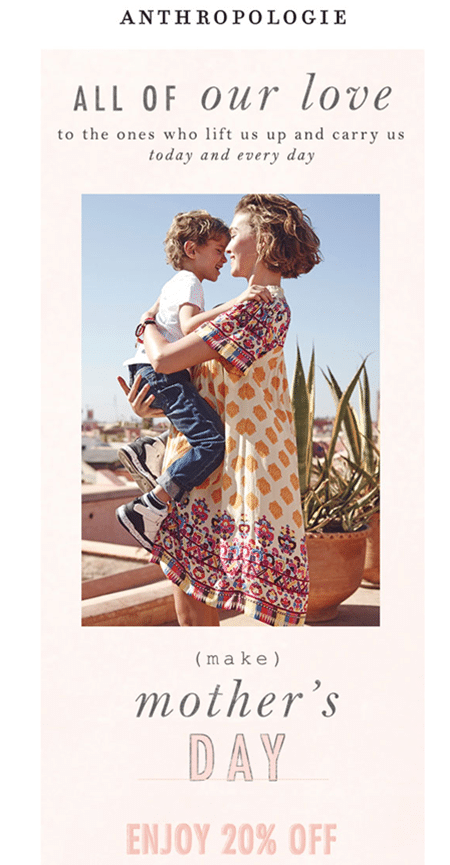 Anthropologie - Mother's Day Email Campaign
