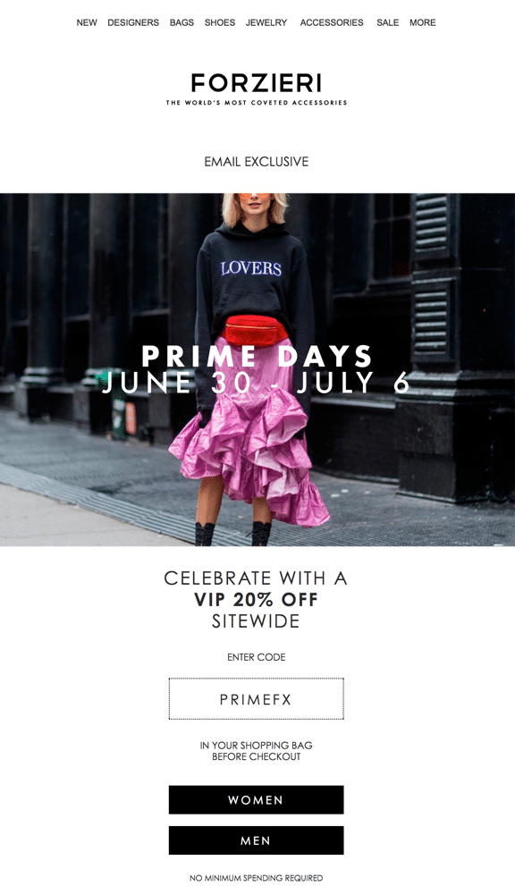 Forzieri Prime Day Email