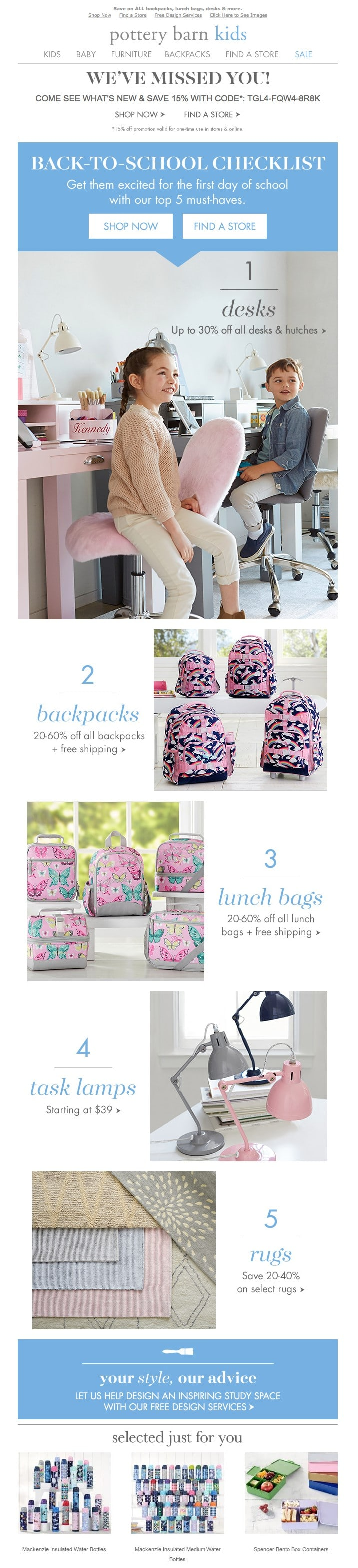 Pottery Barn - back to school email